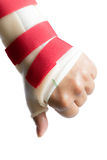 Hand with wrist and thumb splint Stock Photo