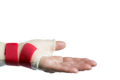 Hand with wrist and thumb splint. Isolated on white background Royalty Free Stock Image