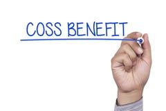 Hand Write cost benefit stock image