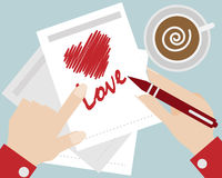 Hand write heart love cartoon vector Royalty Free Stock Image