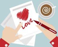 Hand write heart love cartoon vector Royalty Free Stock Image