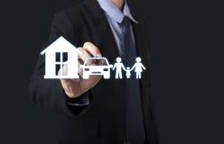 Hand write home car family. concept assurance health-care Stock Photo