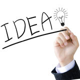Hand write a idea word Royalty Free Stock Images