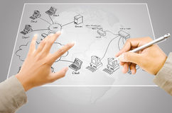Hand write LAN Network diagram on the Touchscreen. Image for Network diagram and people concept stock photos