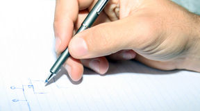 Write. Hand write on a lined paper royalty free stock photography