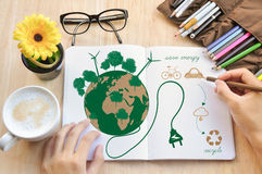 Hand write Notebook love earth concept. Royalty Free Stock Photos