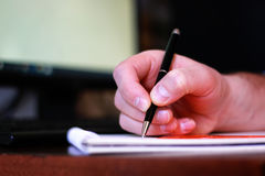 Hand write pen paper Royalty Free Stock Photography