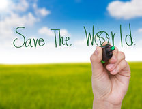 Hand write Save the world. Hand write with green marker Save the world stock photography