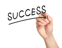 Hand write a success word. On white background stock image