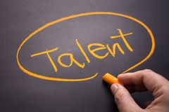 Talent By Chalk. Hand write a Talent topic on chalkboard stock images