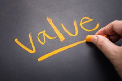 Value By Chalk. Hand write a Value topic on chalkboard royalty free stock image