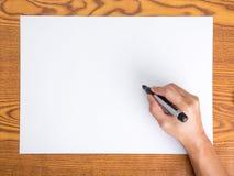 Hand write on white paper stock photos