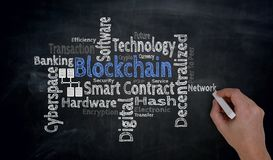 Hand writes blockchain cloud on blackboard concept.  royalty free stock photography