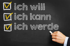 Hand writes in german Stock Photos