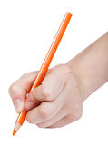 Hand writes by orange pencil isolated Royalty Free Stock Images
