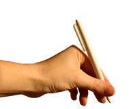 Hand Writing. A woman's hand holding a pencil royalty free stock photos