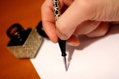 Hand writing. Old style hand writing kit with precious glass pen and ink Stock Photography