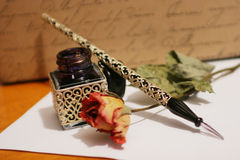 Hand writing. Old style hand writing kit with precious glass pen and ink Royalty Free Stock Photos