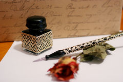 Hand writing. Old style hand writing kit with precious glass pen and ink Royalty Free Stock Images