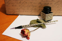 Hand writing. Old style hand writing kit with precious glass pen and ink Stock Photo