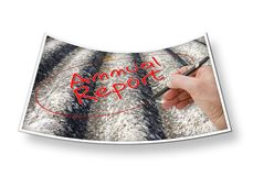 Hand writing `Annual Report` on a background image representing an asbestos roof royalty free stock images