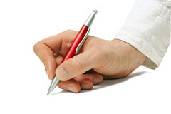 Hand Writing with Ballpoint Pen Stock Image