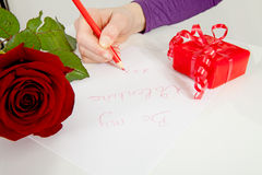 Hand is writing be my valentine Royalty Free Stock Photography