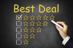 Hand writing best deal on chalkboard Stock Images