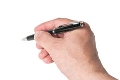 Hand, writing a black ballpoint pen Stock Photo