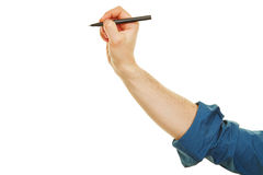 Hand writing with black marker. Side view of hand writing with a black marker Stock Images