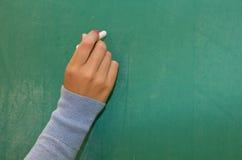Hand writing on blackboard Stock Image
