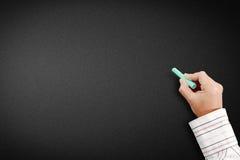 Hand writing on blank blackboard Royalty Free Stock Image