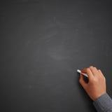 Hand writing on blank chalkboard Stock Image