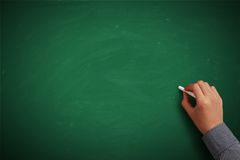 Hand writing on blank green chalkboard. Or background Royalty Free Stock Photos