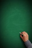 Hand writing on blank green chalkboard Stock Images