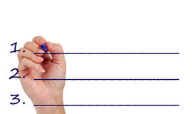 Hand Writing On Blank Line With Copy Space royalty free stock image