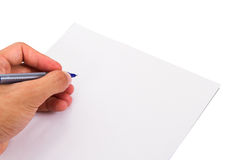 Hand Writing Blank Paper Stock Images