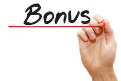 Hand writing Bonus, business concept. Hand writing Bonus with red marker, business concept royalty free stock images