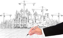 Hand writing and buiding construction Royalty Free Stock Images