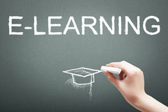 Hand writing with chalk e-learning concept Stock Photo