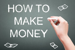 Hand writing with chalk how to make money. Concept on blackboard stock images