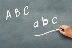 Hand writing on a chalkboard the letters abc Stock Photo