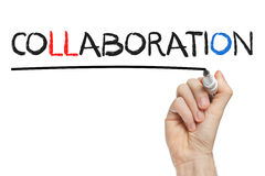 Hand writing collaboration. Collaboration handwritten with a marker on a whiteboard stock photo