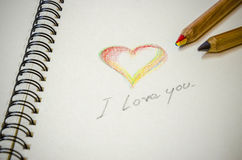 Hand writing colorful heart and i love you Stock Photography
