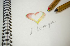Hand writing colorful heart and i love you Royalty Free Stock Image