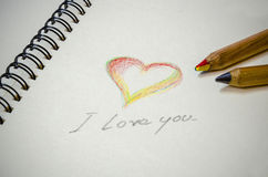 Hand writing colorful heart and i love you Royalty Free Stock Photos