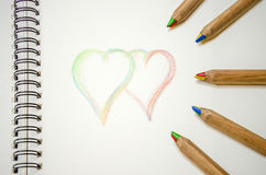 Hand writing colorful hearts and i love you Stock Image
