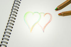 Hand writing colorful hearts and i love you Stock Photo