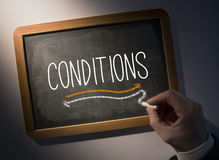 Hand writing Conditions on chalkboard Stock Photography
