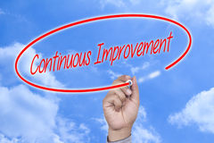 Hand writing Continuous Improvement on visual screen stock photo